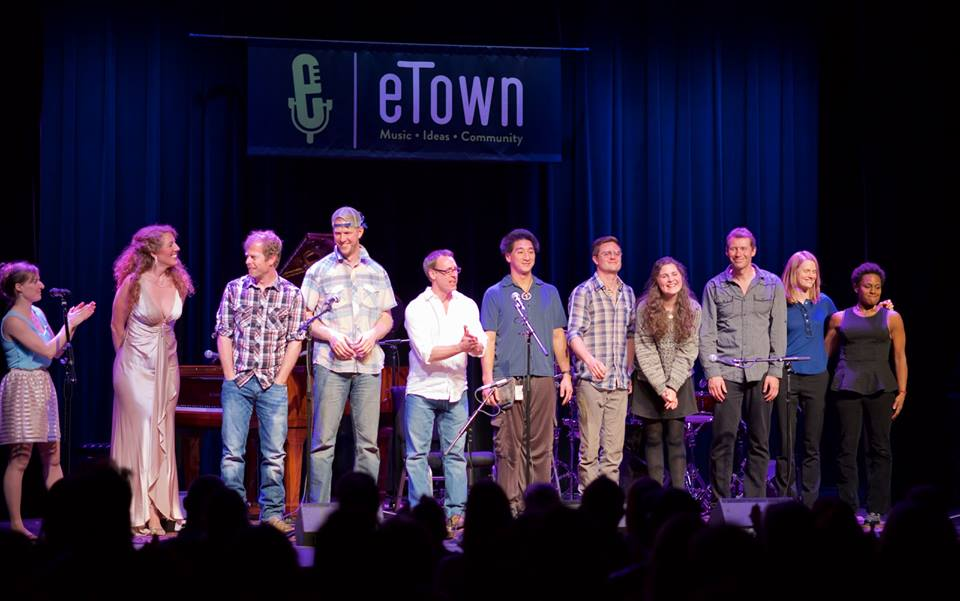 photo of musicians on the eTown stage from the first Community Music Night hosted at eTown Hall