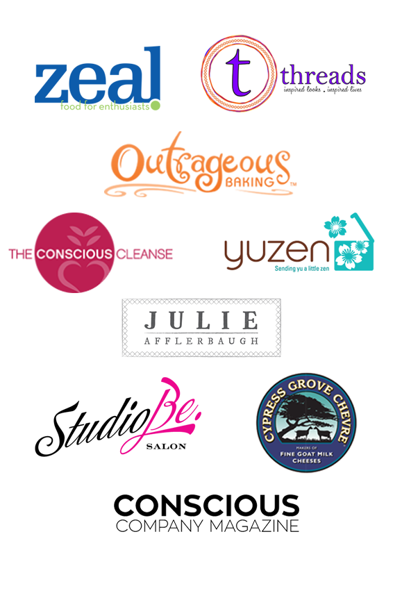Collection of Power Night Boulder's sponsor logos: Zeal, Threads, Outrageous Baking, The Conscious Cleanse, Yuzen, Julie Afflerbaugh, StudioBe Salon, Cypress Grove Chevre, & Conscious Company Magazine