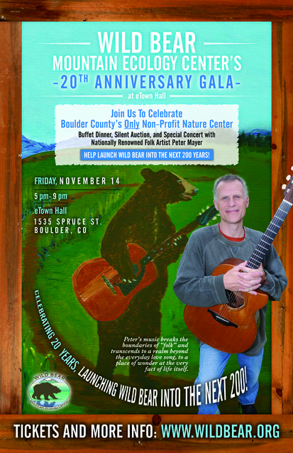 poster for the Wild Bear Mountain Ecology Center's 20th Anniversary Gala
