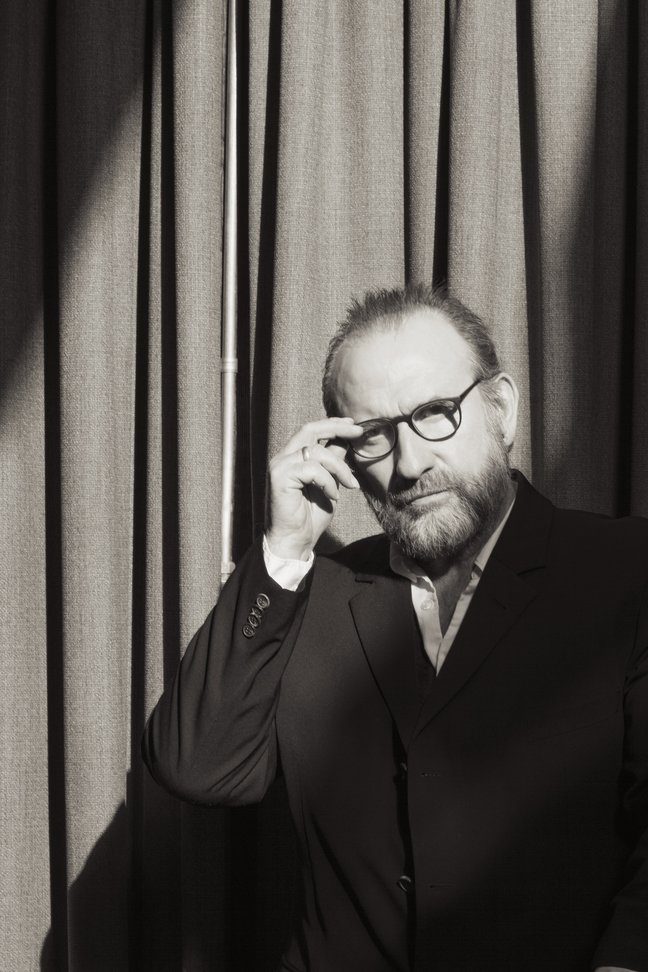 black and white photo of musician Colin Hay