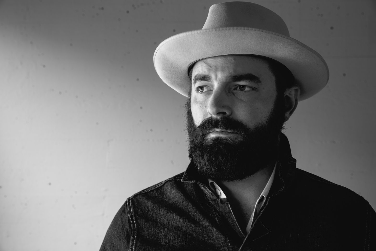 black and white portrait of musician Drew Holcomb