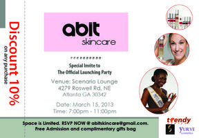 Abit Skincare: Free  Entry with RSVP and Complimentary...