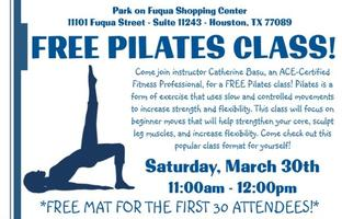 FREE Pilates Class! *FREE MAT FOR THE FIRST 30...