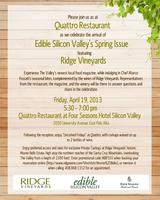 Edible SV's Spring Launch Featuring Ridge Vineyards at...
