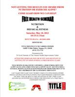 NUTRITION & PHYSICAL FITNESS FREE HEALTH SEMINAR