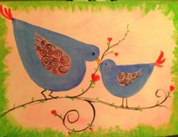 Early Class BLUEBIRD - Sat. Morning Paint & Pizza Class