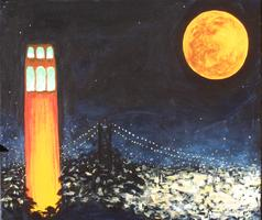 Pa'ina Paint Club - Coit Tower Under Harvest Moon