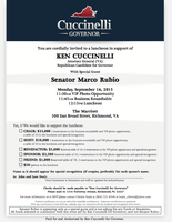 September 16th Reception For Ken Cuccinelli With...