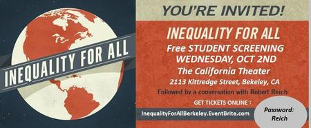 Inequality For All - FREE FILM SCREENING - plus Q&A...
