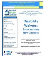 Disability Waivers: Same Waivers New Changes
