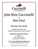 Ken Cuccinelli GOTV Rally with Congressman Ron Paul