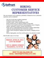 Customer Service Hiring Event 1:30 PM SHARP