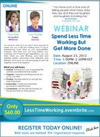 WEBINAR: Spend Less Time Working but Get More Done...