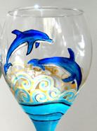 """Wine Glass Paint Party - """"Dolphins at Play"""" (SOLD OUT)"""