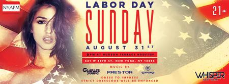 WHISPER NYC: LABOR DAY WEEKEND @ HUDSON TERRACE