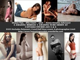 3 Amazing Models, Nude Shoot at Cat Tails Studio