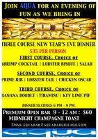 "Aqua Bar and Grill presents  ""Three Course New Year..."