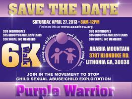 3rd Annual Purple Warrior 6K Walk     Saturday April...