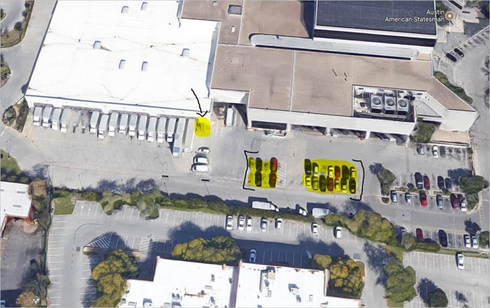 Statesman Parking Lot & Building Entrance. Parking South/East Lot. Building entrance located next to Shipping Dock #17