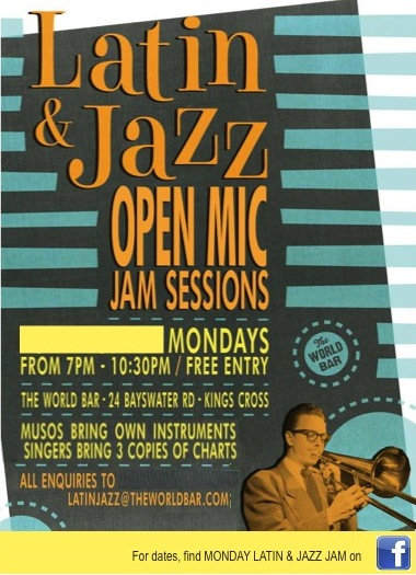 Weekly on Monday Latin & Jazz Jams at World Bar