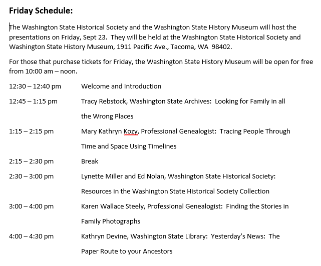 Ancestry Day Friday Schedule