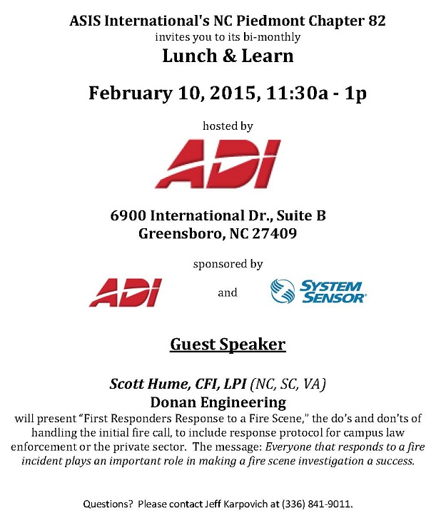 Flyer for Feb. 10 ASIS Lunch & Learn