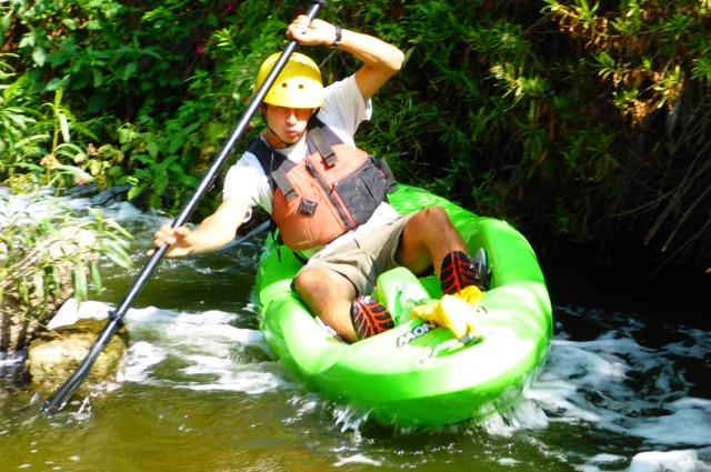 Kayaker having fun on LA River