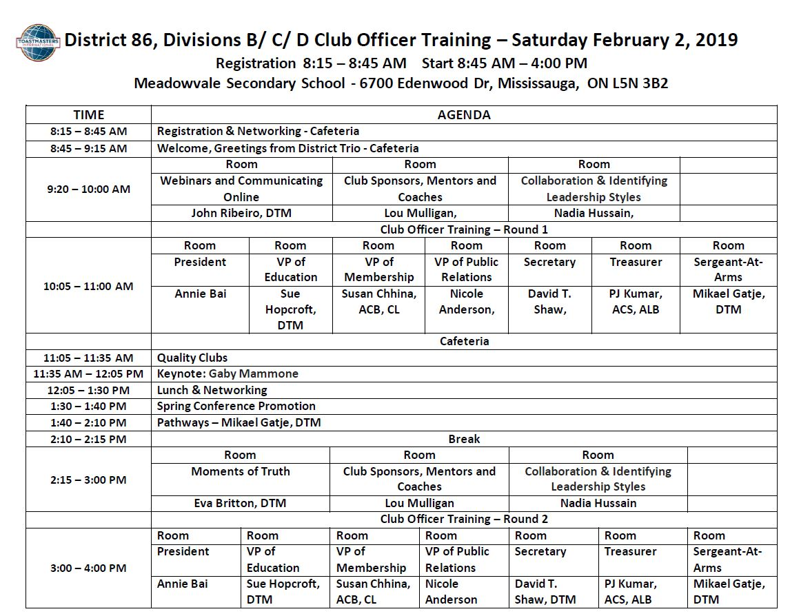 BCD Training Agenda