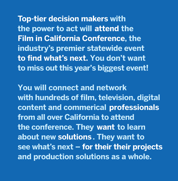 Join 500 film pros ready to film in California!