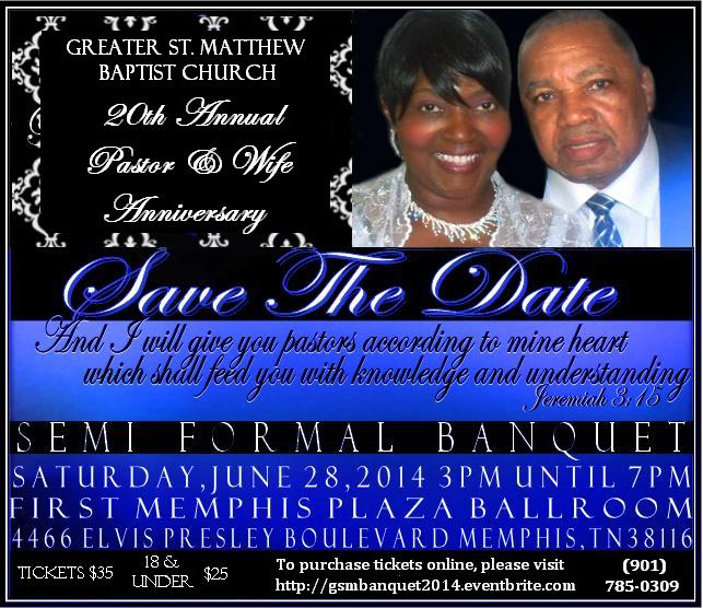 20TH PASTOR & WIFE ANNIVERSARY APPRECIATION BANQUET Tickets, Sat, Jun ...