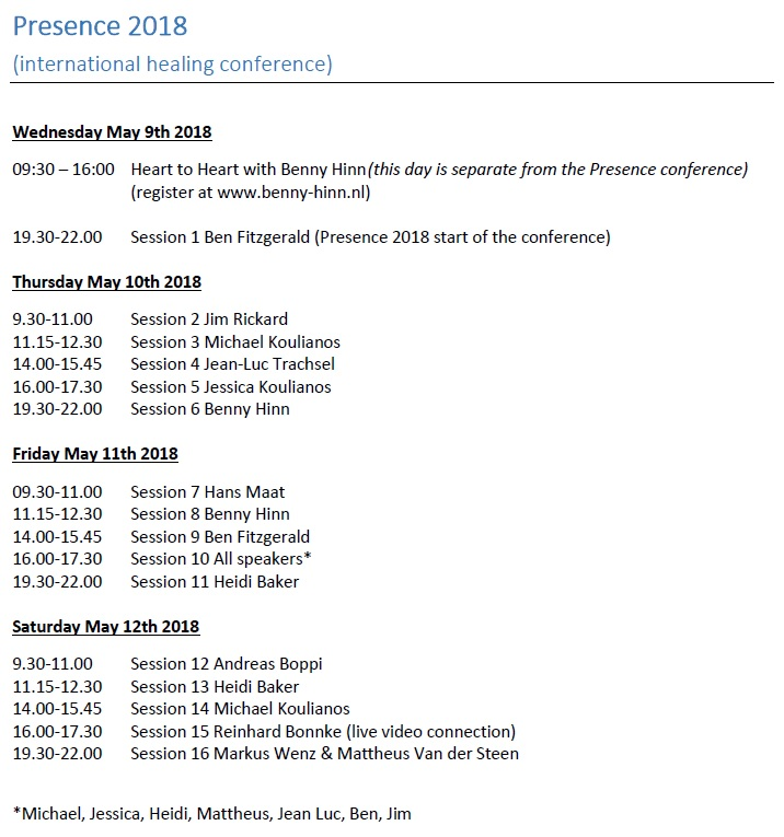 Schedule-Schema Presence 2018