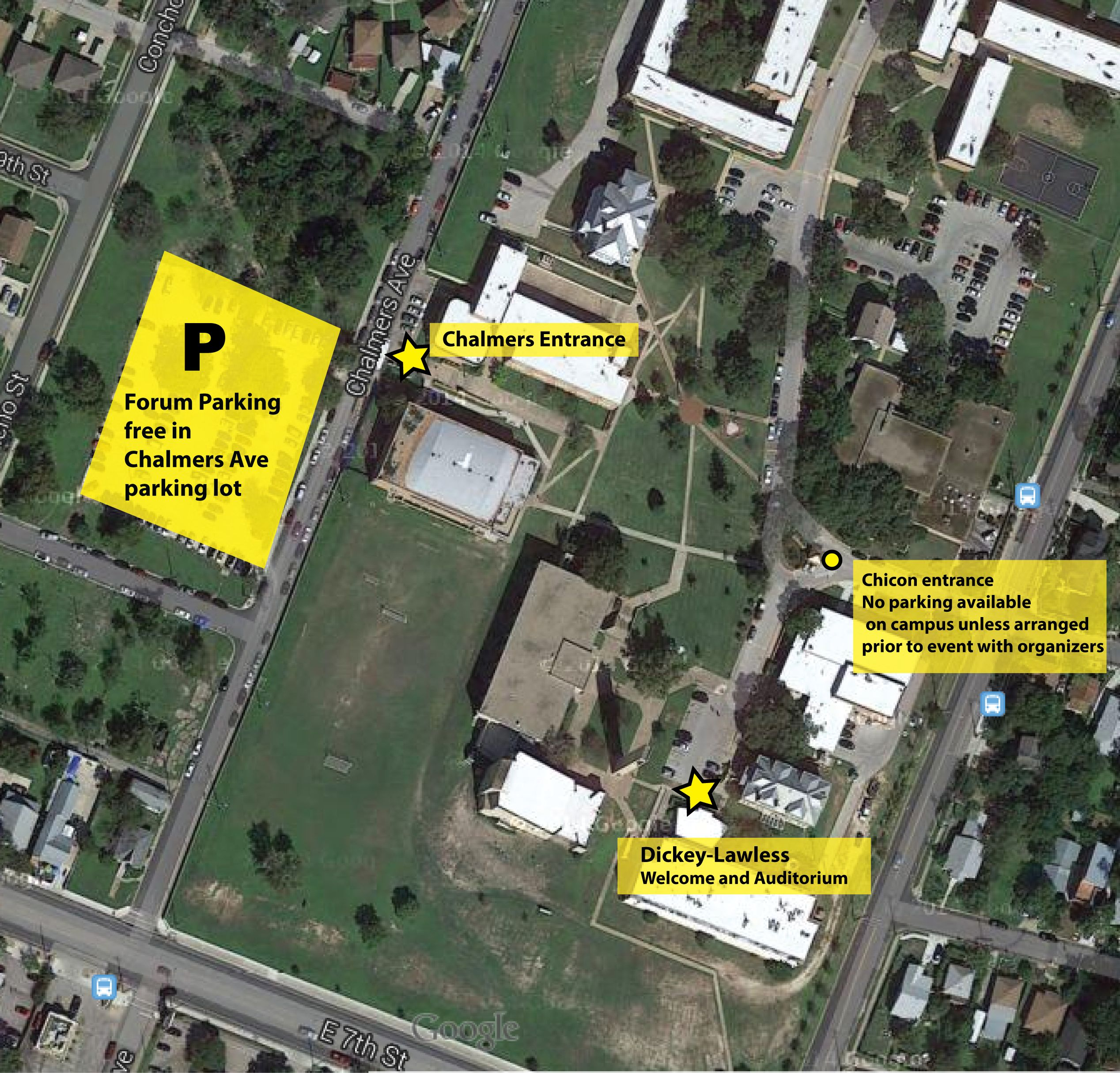 Huston-Tillotson Campus map for Forum