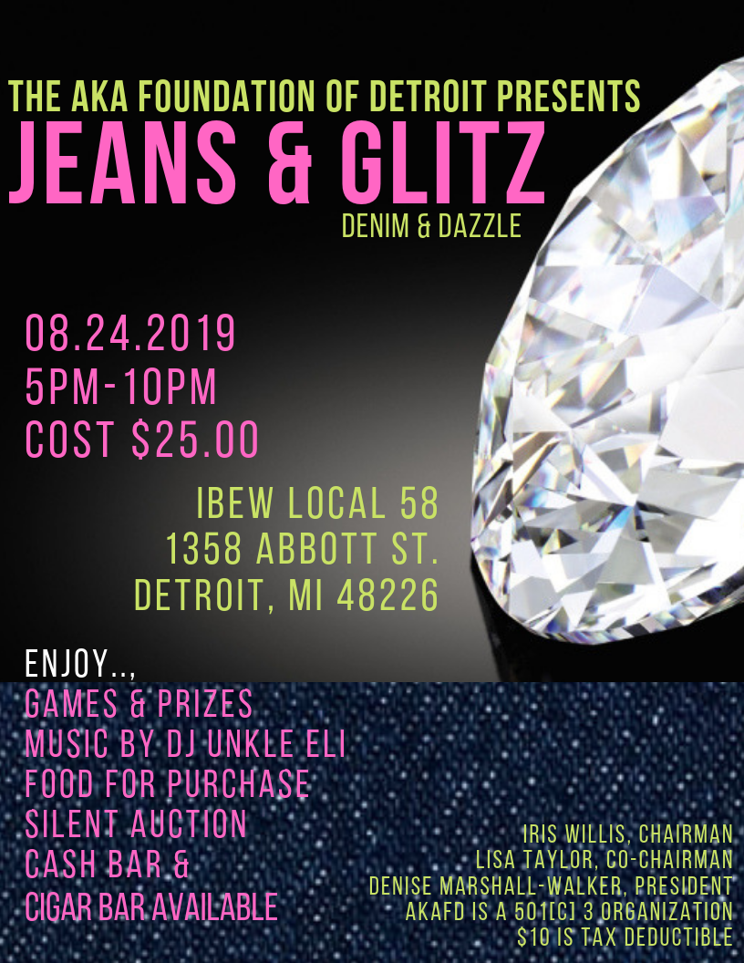 Jeans & Glitz Flyer with Event Information