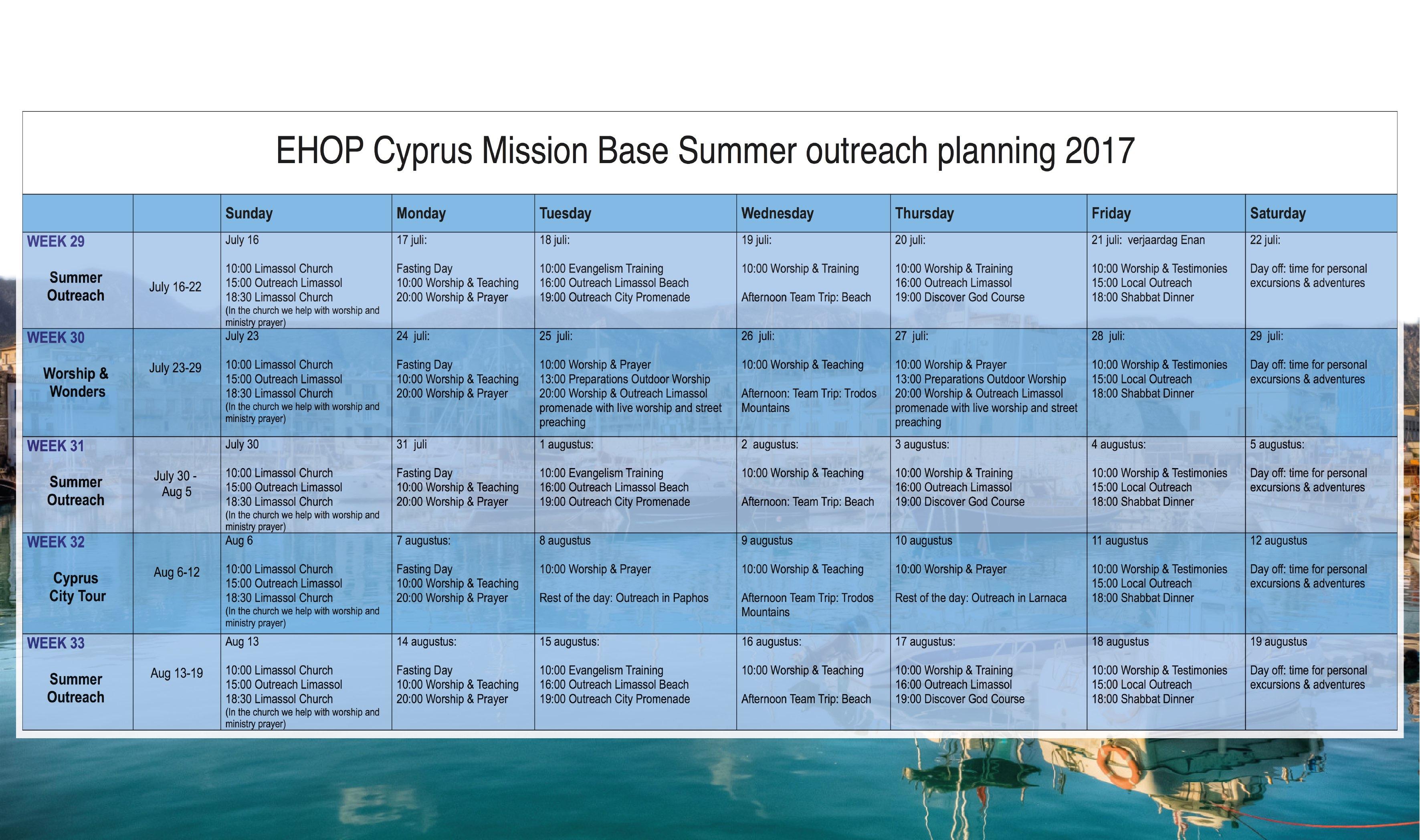 Schedule Summer Outreach Cyprus