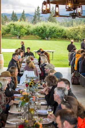 Diners eating at Mt View Orchards Venue