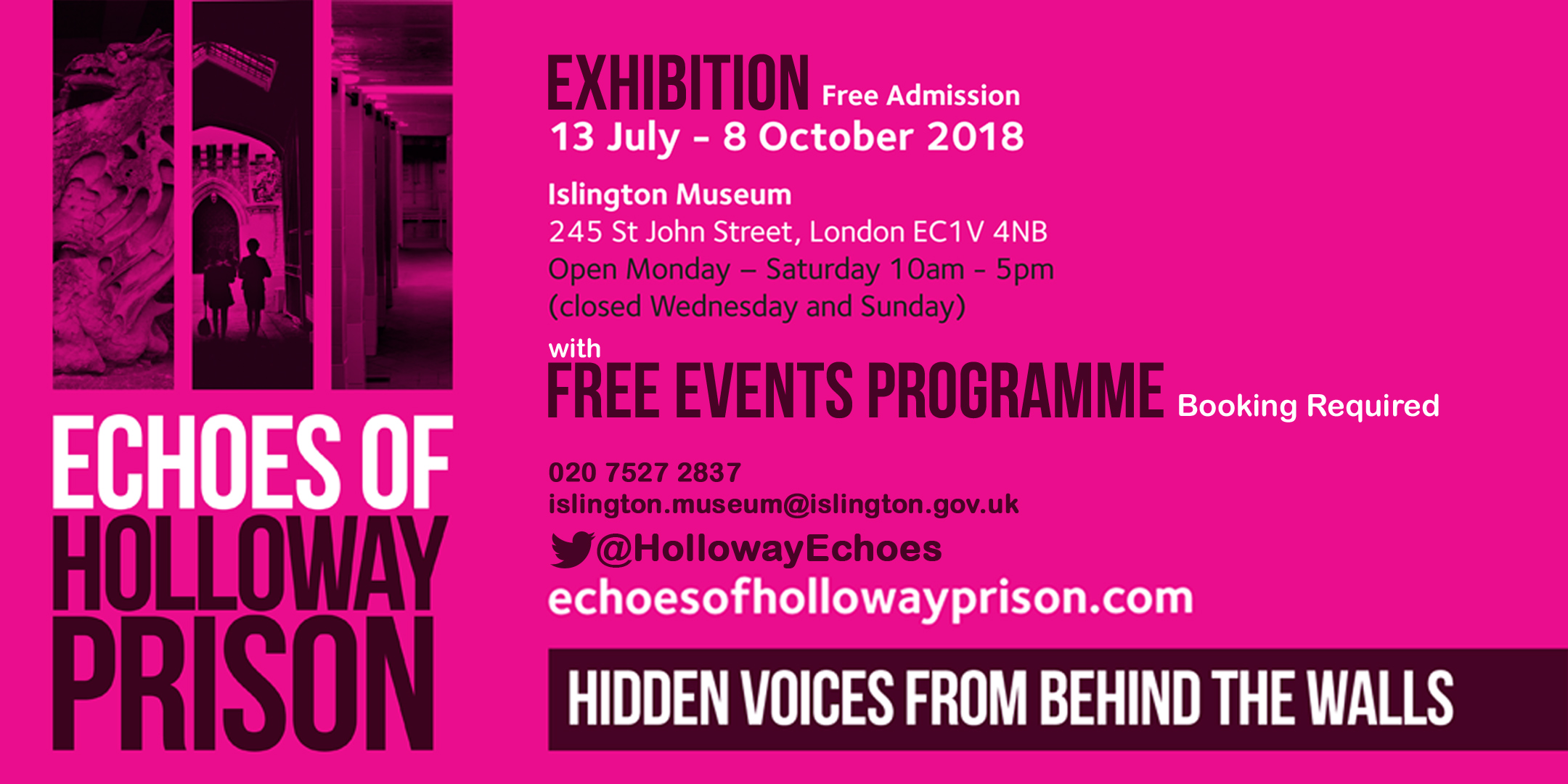 Echoes of Holloway Prison Exhibition & Events Programme Flyer