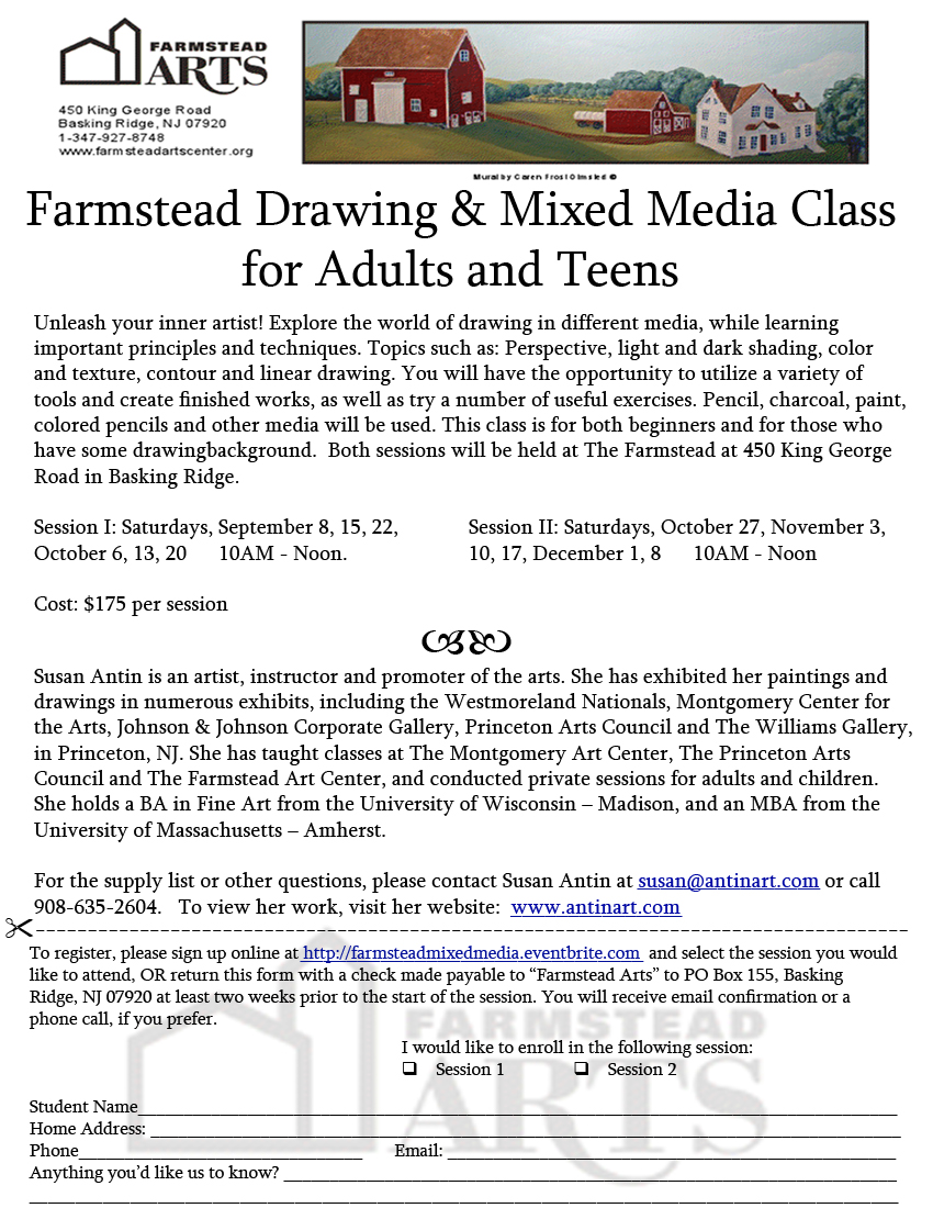 Registration form by mail for Mixed Media Class