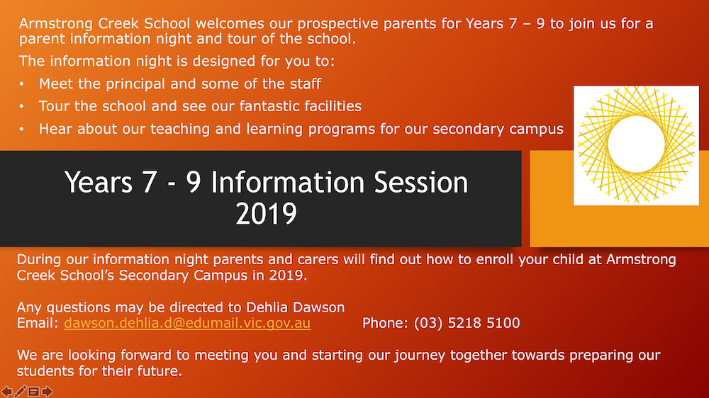 Year 7-9 Information Session