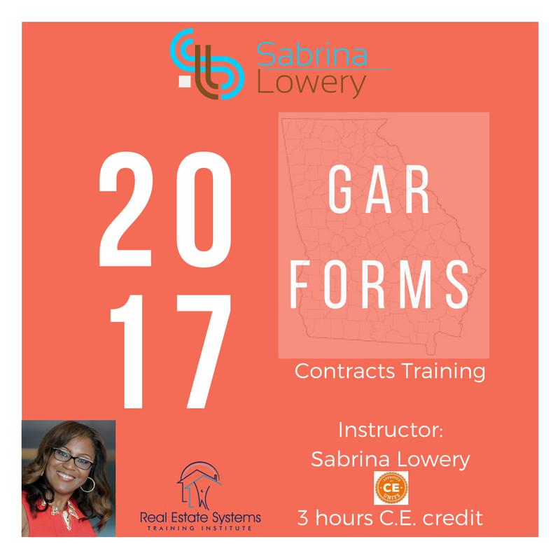 2017 GAR Forms Training