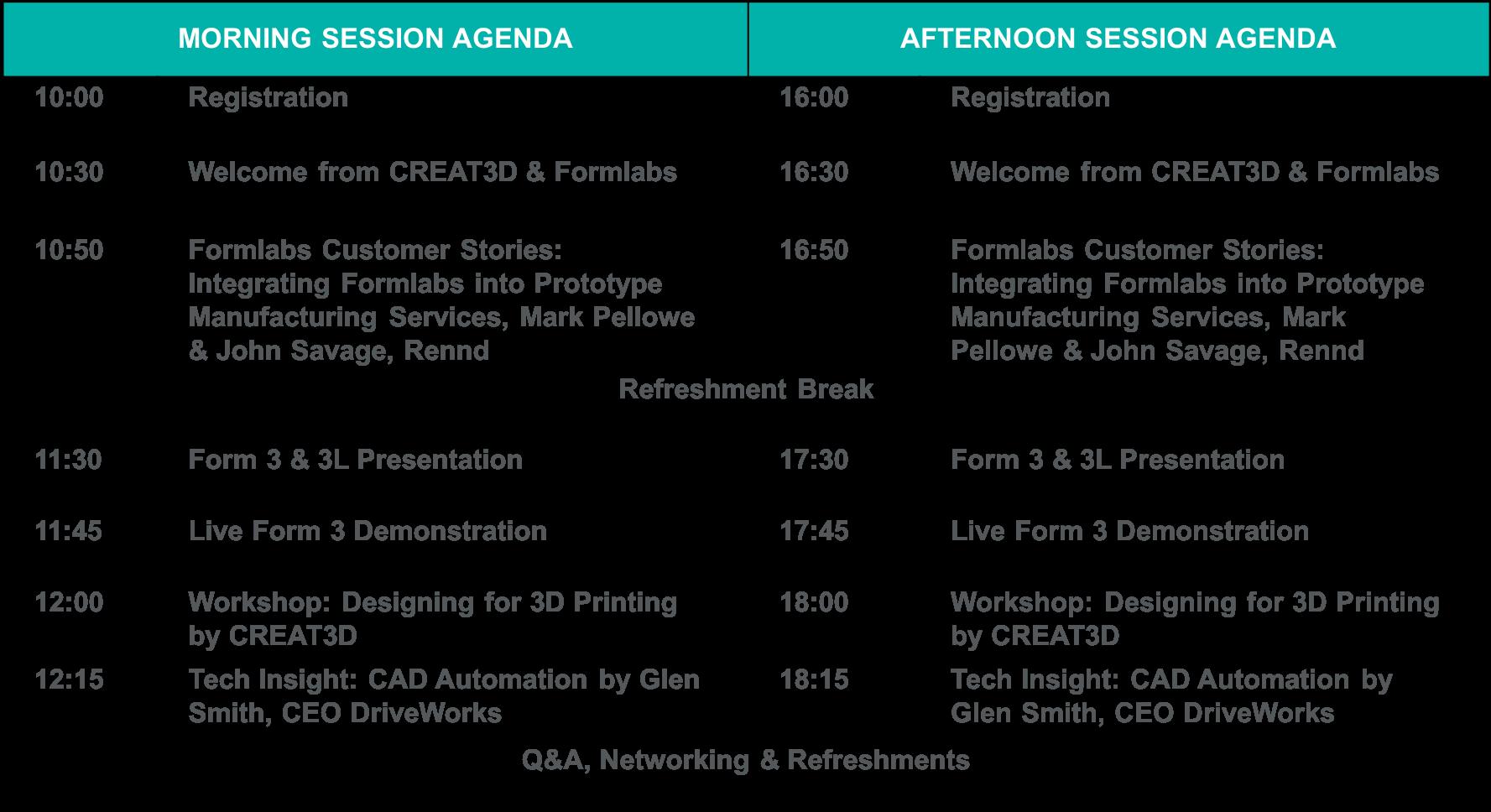 Formlabs Roadshow Agenda - Reading