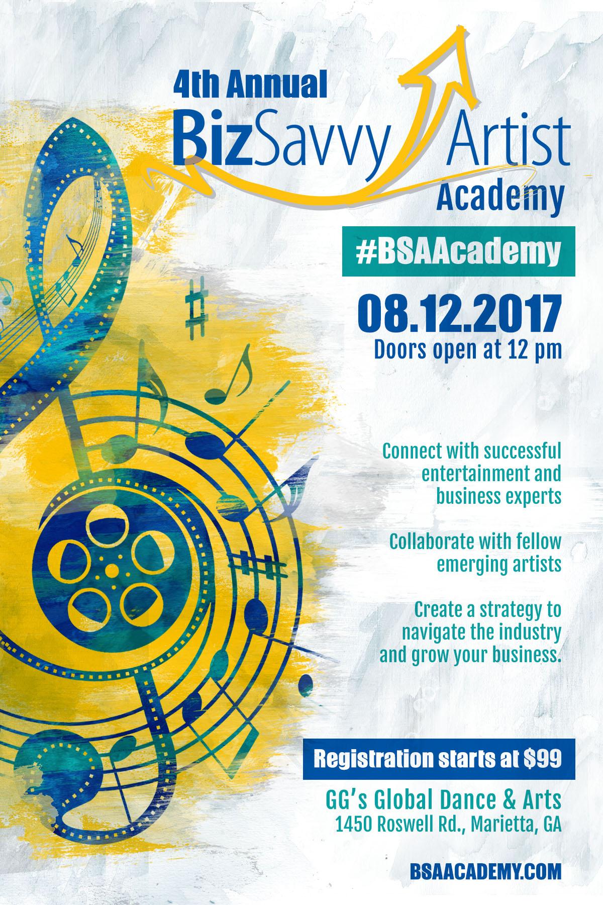 Biz Savvy Artist Academy 2017 flyer