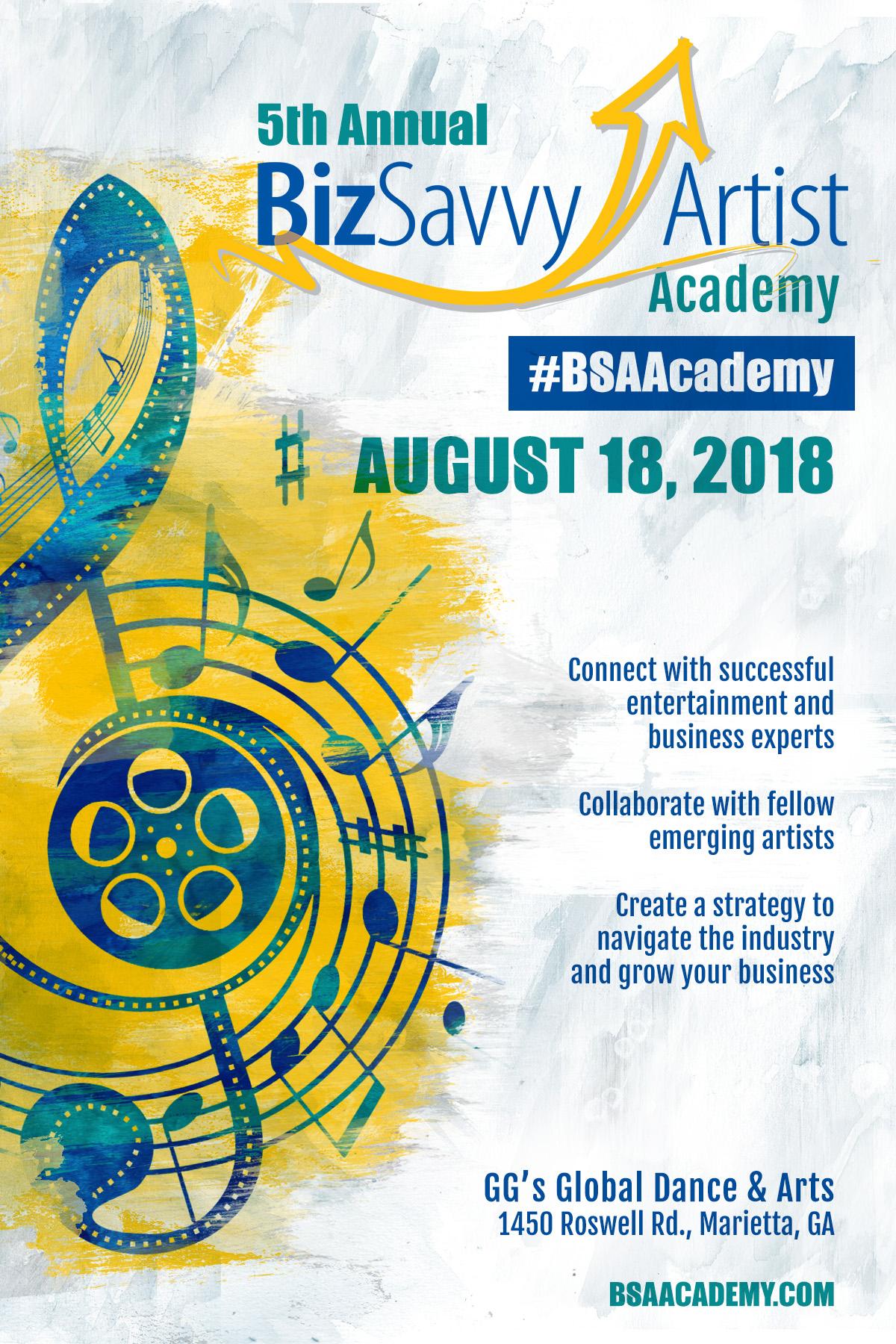 Biz Savvy Artist Academy 2018 flyer