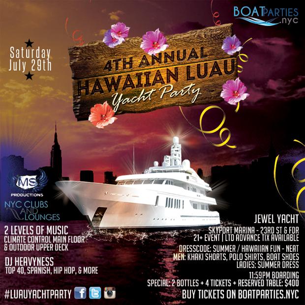 4th Annual Hawaiian Luau Yacht Party