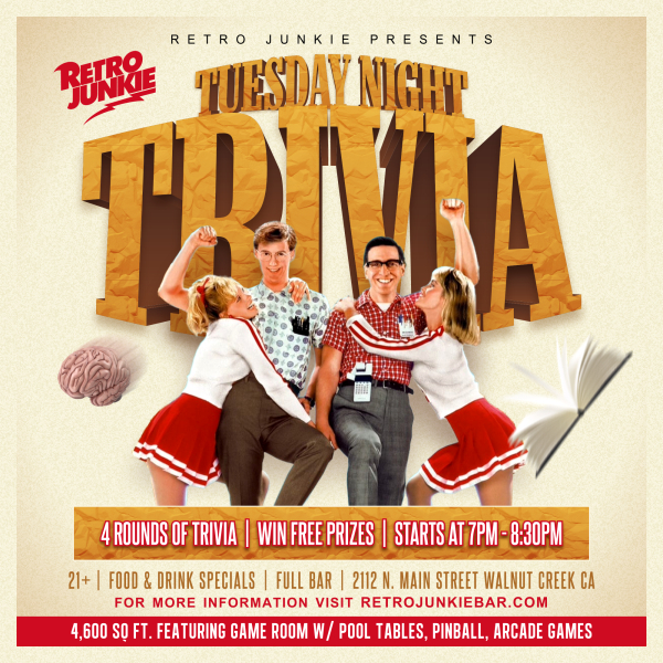 Tuesday Night TRIVIA! Win Prizes - Retro Junkie Arcade Bar