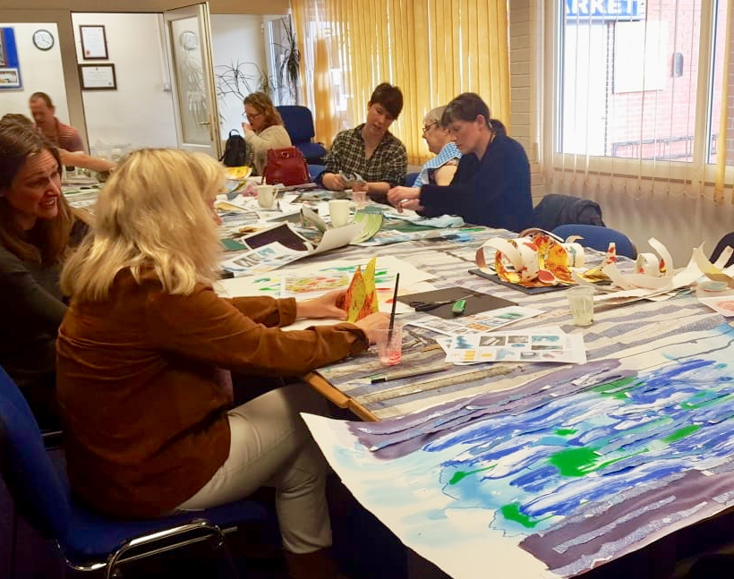 Group taking part in Art for Wellbeing workshop