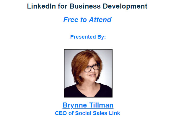 Presented by Brynne Tillman, CEO of Social Sales Link
