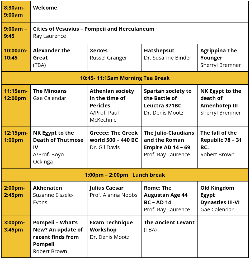 A Hist HSC Study Day Timetable