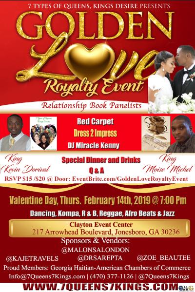 Golden Love Panel Valentine Day Flyer
