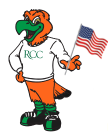 Rocky the Mascot holding the American Flag