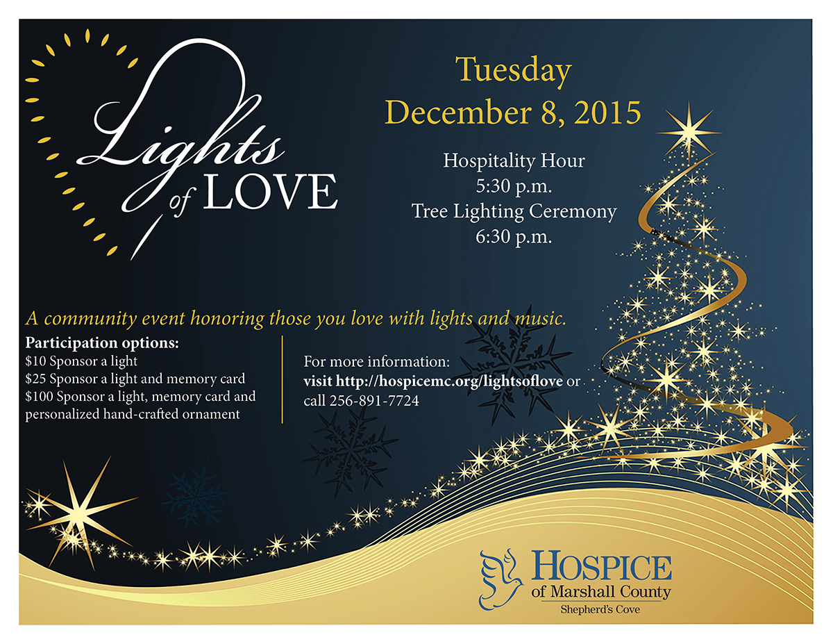 Dark background with gold Christmas tree, Lights of Love event logo and Hospice of Marshall County logo, as well as date, time and participation options.